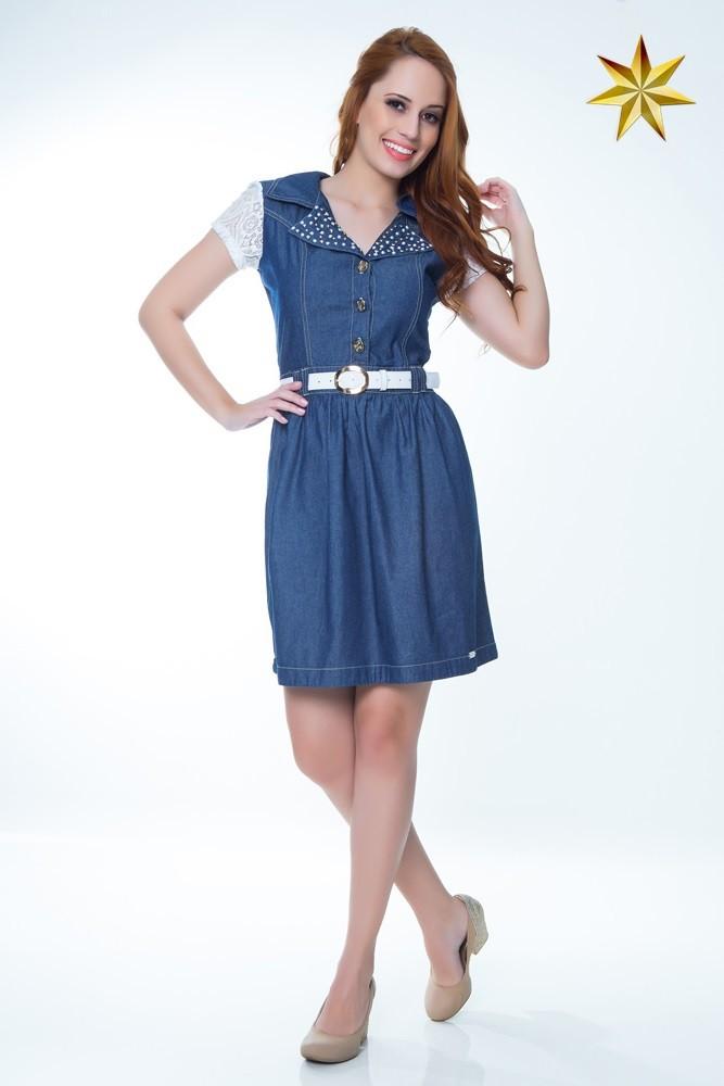 Vestido Jeans Renda Hapuk - Estrela Evangélica