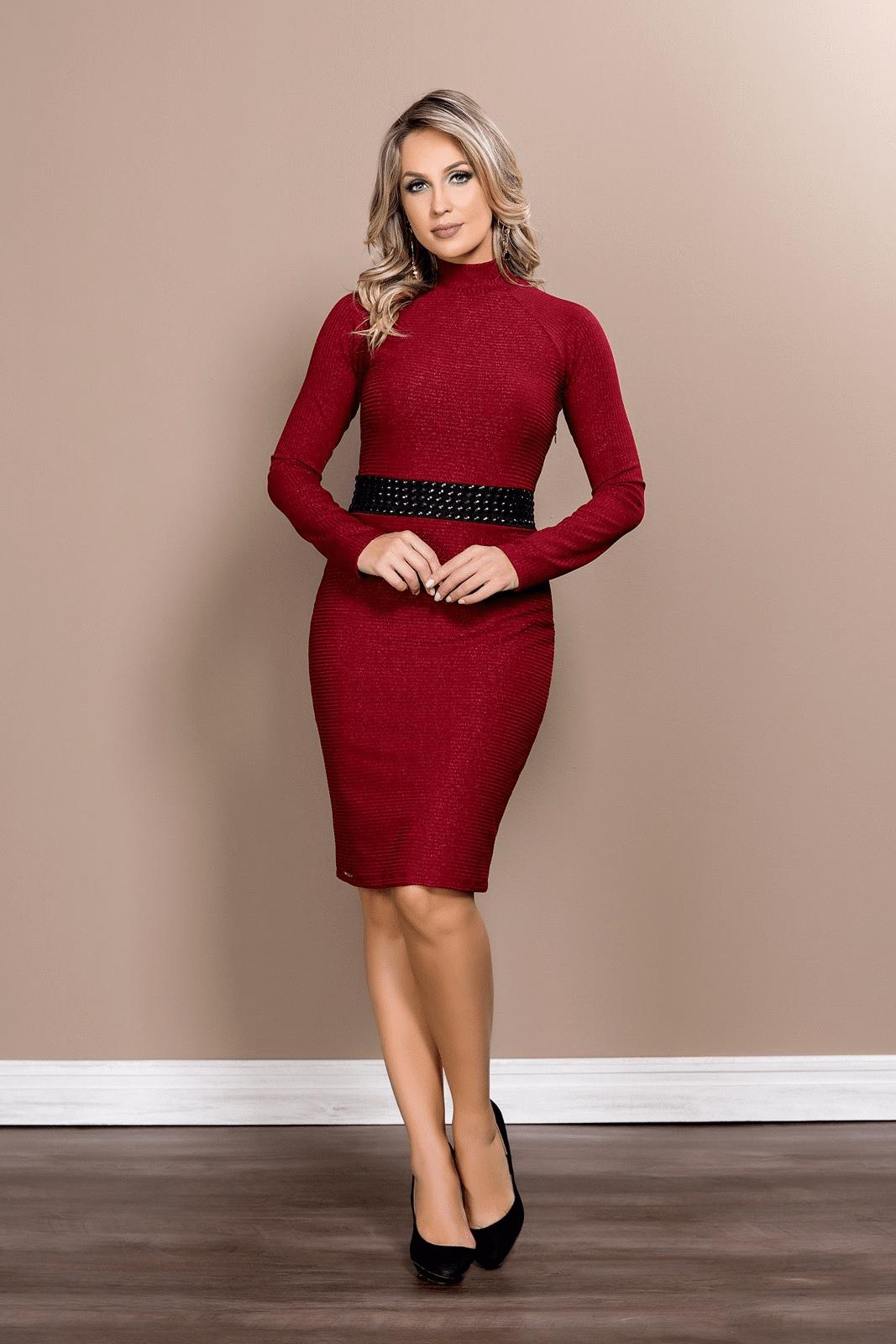 Vestido Clara Rosa Tubinho Lurex 13189