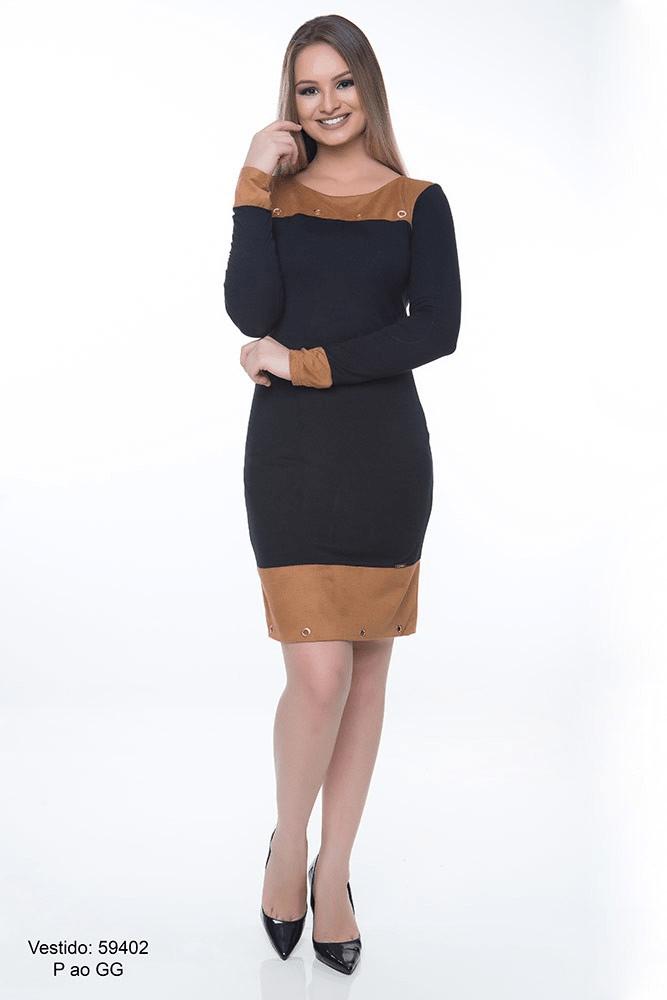 Vestido Hapuk Detalhe Suede Caramelo 59402