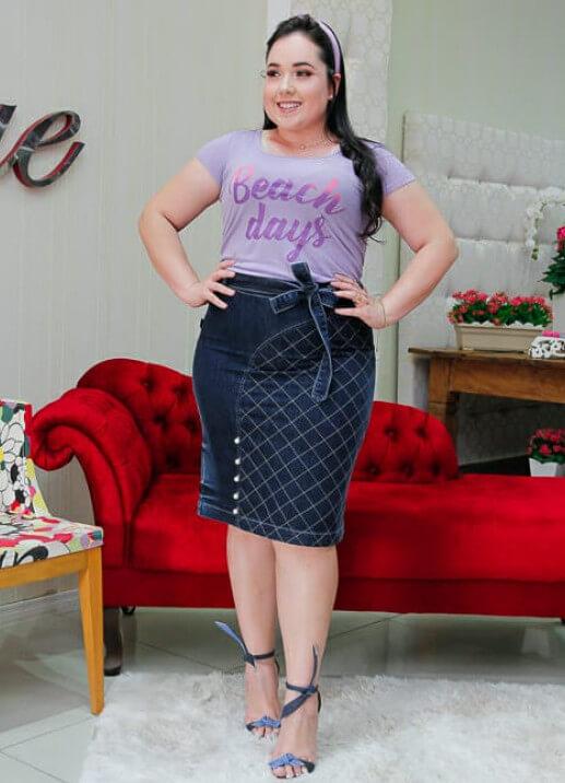 Look confortável de moda plus size