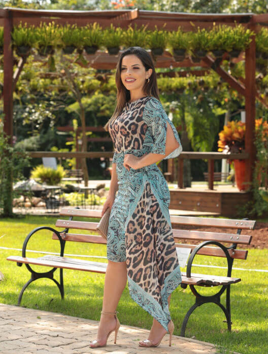 Vestido Assimétrico Animal Print na Black Friday